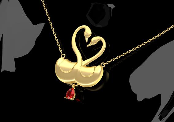 Swans Love Pendant Jewelry Gold 3D print model