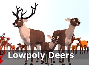 LowPoly Deers Pack 3D model