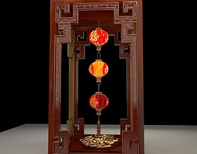 Chinese red lantern asian 3D model