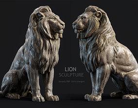 3D asset Sitting Lion Sculpture PBR Low-poly