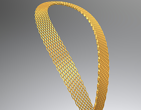 Wide necklace chain 3D asset
