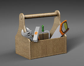 3D model Wooden toolbox with tools
