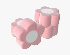 3D Marshmallows candy flower shape