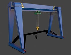 3D model PBR Single Girder Gantry Crane V2 - Blue