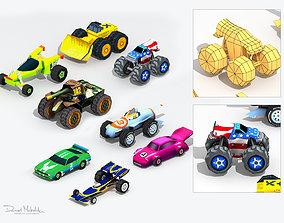 Low poly Cartoon Cars toys 3D model
