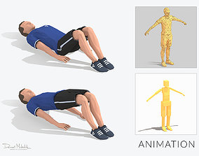 But Up Exercise Man Animation 3D model
