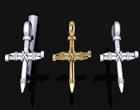 3D print model Dainty Rustic style Nail Cross Pendant 1