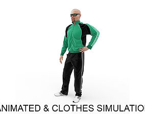 3D model animated Sports man idle