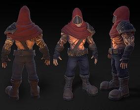 animated Game model faceless assassin 3D model