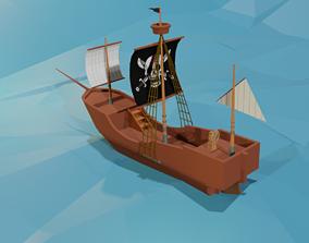 VR / AR ready 3d pirate ship