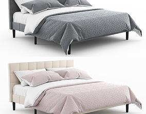 3D model Colby upholstered platform tufted Bed by
