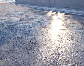 3D Damaged wet concrete road texture