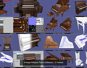 Vintage Antique Piano Collection 3D