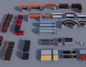 3D model Reception Area Desks Couches Tables