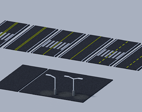 3D asset models Road low-poly texture
