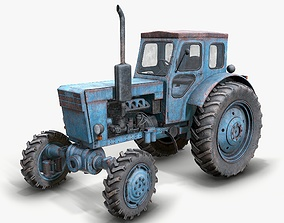3D asset Tractor T-40 low poly