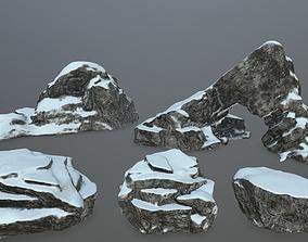 3D model realtime bush rock set