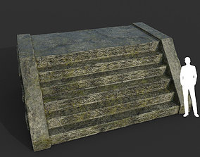 3D asset Low poly Mayan Inca Ruin Temple Modular 09-6k