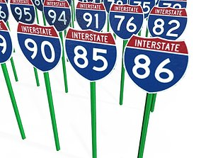 3D asset Interstate Shields