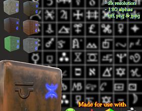 Ancient Alchemy runes set Height map Alpha 3D model 2