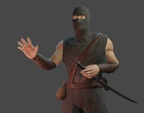 Ninja Low-Poly Facial Animation 3D model