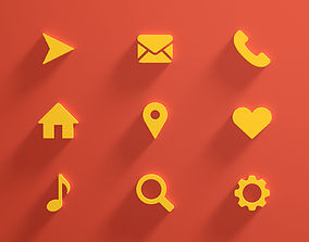 3D model Icon Set Web emoticons