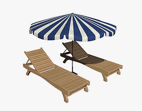Sunbed Umbrella 3D model