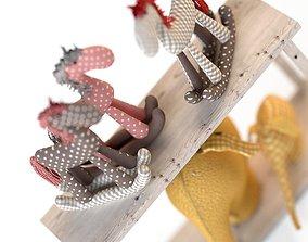 3D model Toys textile elephants and horses