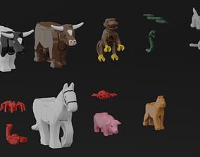 3D model Lego animals land