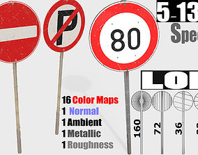 traffic road sign Collection - PBR Game-Ready 3D asset
