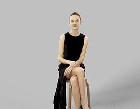Barbara Fancy Dress Woman In Black Dress Sitting 3D asset
