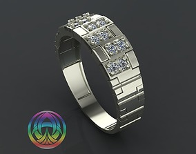 gold jewelry diamond ring 3D print model