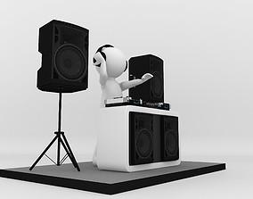 3d DJ Stick Man