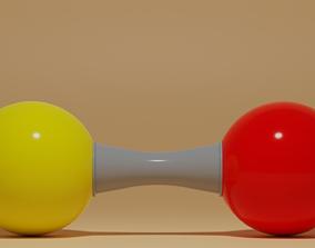 3D model Sulfur Monoxide Molecule SO