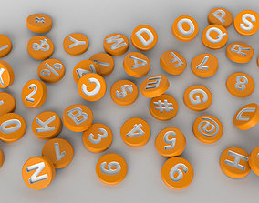 English Letters 3D model in round shape