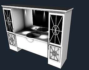 White bathroom sink with mirror 3D model