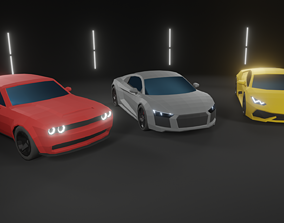 Lowpoly supercars 3D model