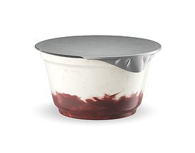 Plastic Cup Yogurt and Cherry Jam 3D model food-and-drink