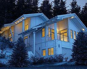 3D Scene Of Modern House Near The Forest