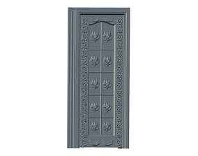 3D model roccoco door entry elegant golden entrance