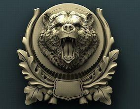 Bear head medallion 3d stl model for cnc
