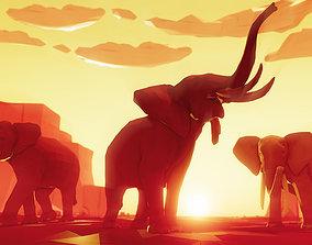 3D asset Poly Art Elephants