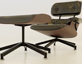 3D asset Lounge Chair Ottoman
