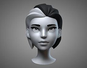 Cartoon Female Head 3D model