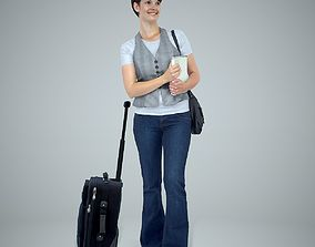 3D model Standing Woman with a Suitcase and a Vest