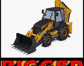 cat 3D model JCB Backhoe loader Rigged