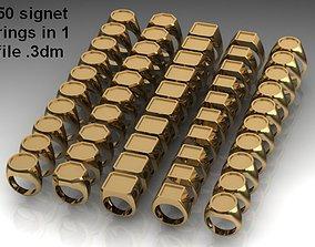 50 signet rings 3D printable model