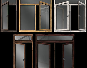 Swing stained glass wooden windows 3D model