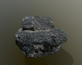 3D model low-poly old rock