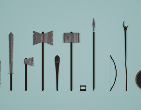 3D model Low poly rusrty weapon pack
